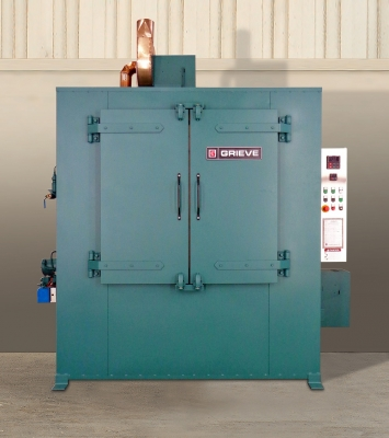 No. 1045 is a 1250°F (677°C), high temperature horizontal air flow cabinet oven from Grieve, currently used for heat treating a...